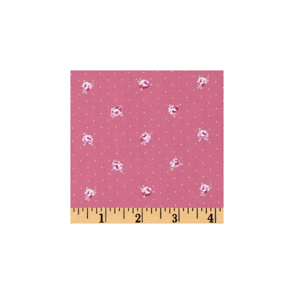 44 Wide Lecien Petite Fleur Tiny Roses Dot Hot Pink Fabric By The Yard