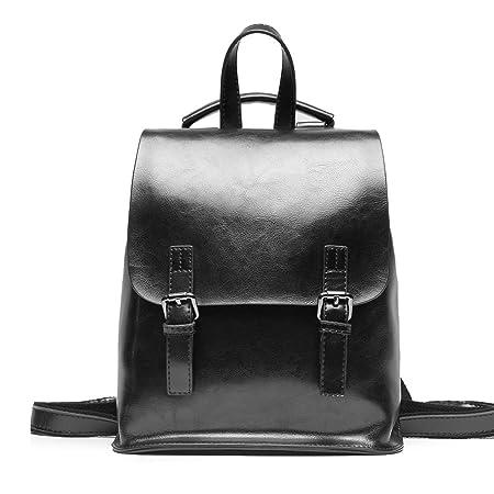 Yoome Vintage Öl-Wachs Leder Rucksack Multifunktions Geldbörse für Frauen Schultasche für Mädchen Reisen Bga Schwarz