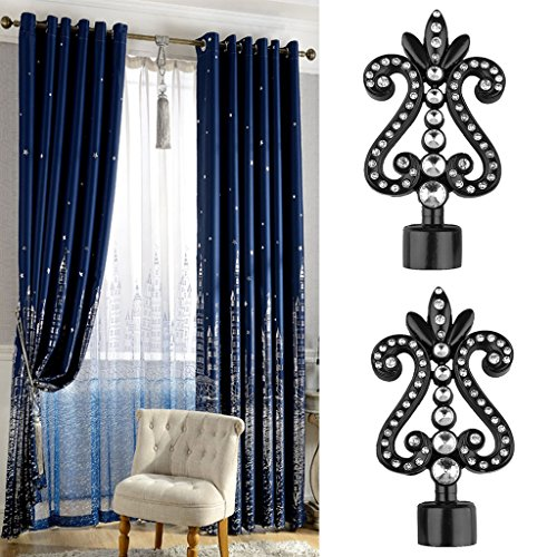 MonkeyJack 1 Pair Decorative Curtain Drapery Rod/Pole Finials Ends for 28mm Curtain Poles - Black-4#, as described by MonkeyJack (Image #7)