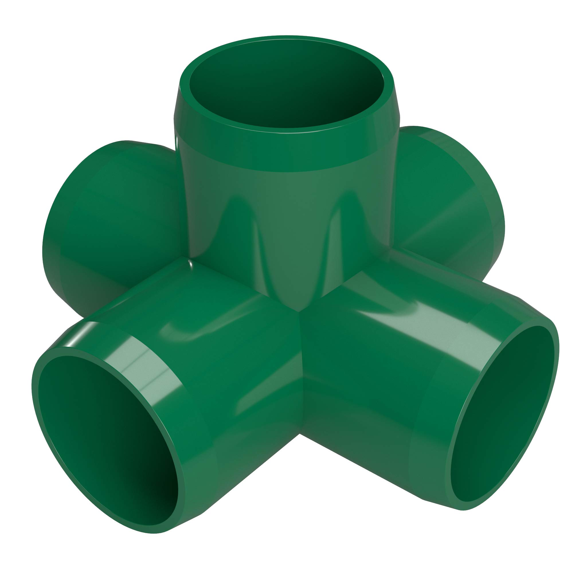 FORMUFIT F1145WC-GR-4 5-Way Cross PVC Fitting, Furniture Grade, 1-1/4'' Size, Green (Pack of 4)