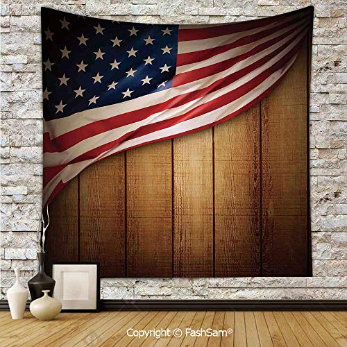 FashSam Tapestry Wall Blanket Wall Decor USA Design on Vertical Lined Retro Wooden Rustic Back Glory Country Image Home Decorations for Bedroom(W51xL59)
