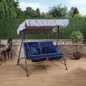 Mosca 2plazas jardín columpio asiento–gris marco con cojines de lujo en una elección de colores