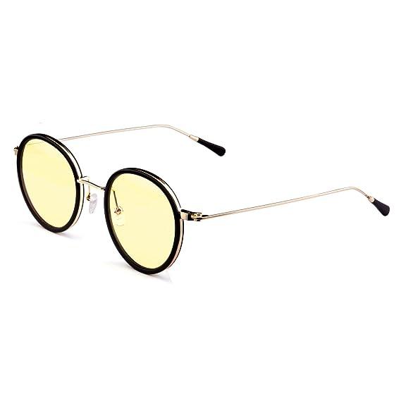 e946e1d18a Amazon.com  GAMEKING FASHION S22142 Gold Retro Blue Light Blocking Computer  Glasses Gaming Glasses with Amber Tint Lens  Home Audio   Theater