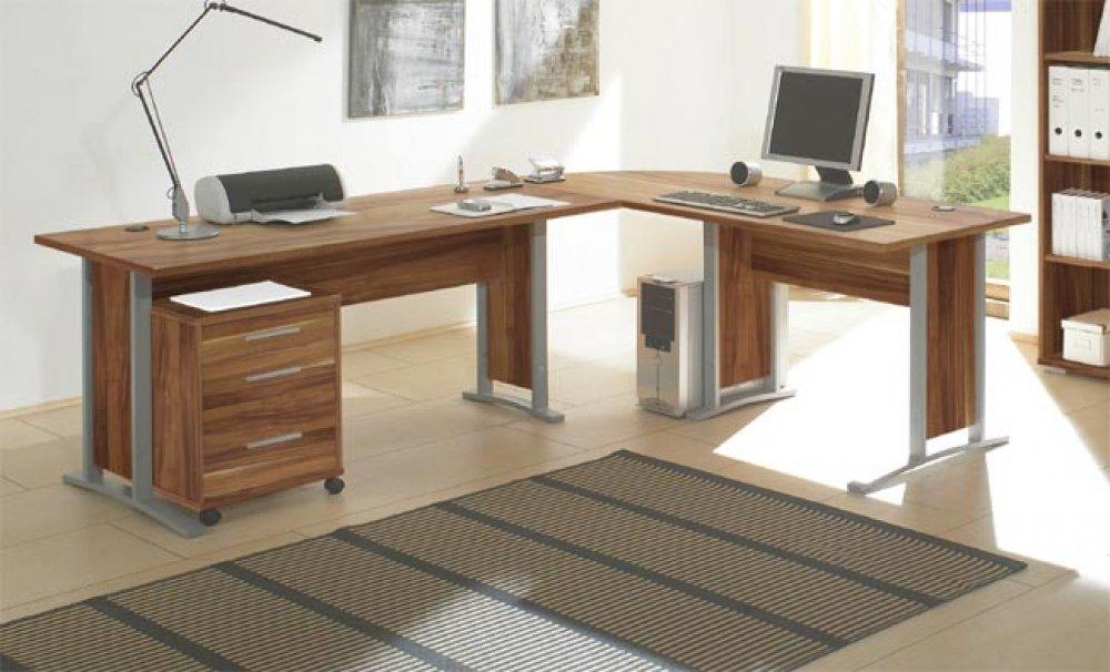 Schreibtisch büro  Schreibtisch 751 Büro Tisch Winkelschreibtisch in Nussbaum ...