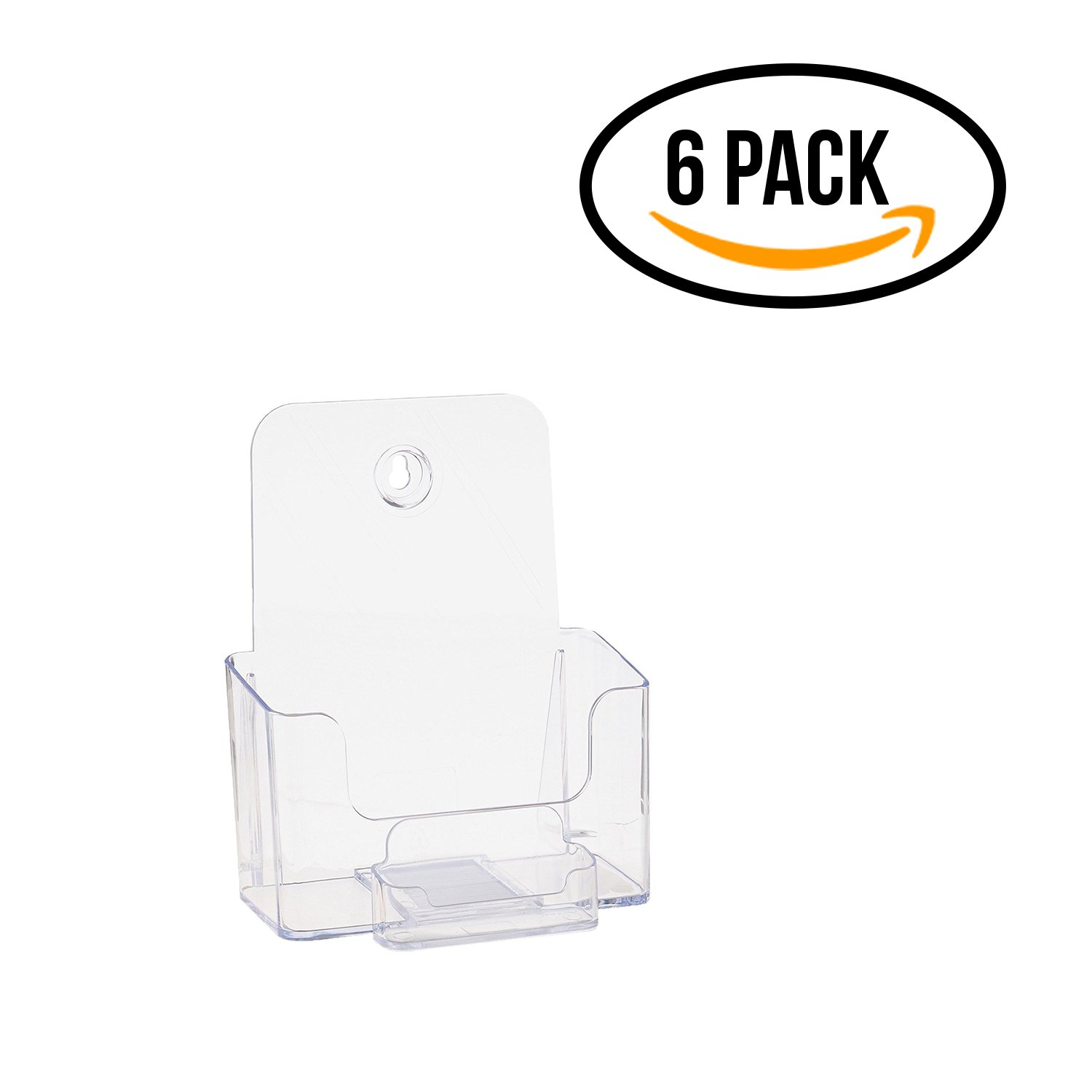 Source One Bi Fold Brochure Holder Standard Booklet with Business Card Holder (6 Pack, Clear Pocket)
