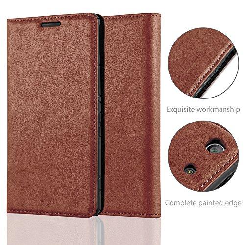 Cadorabo - Funda Book Style Cuero Sintético en Diseño Libro Sony Xperia M5 - Etui Case Cover Carcasa Caja Protección con Imán Invisible en ROJO-MANZANA MARRÓN-CAPUCHINO