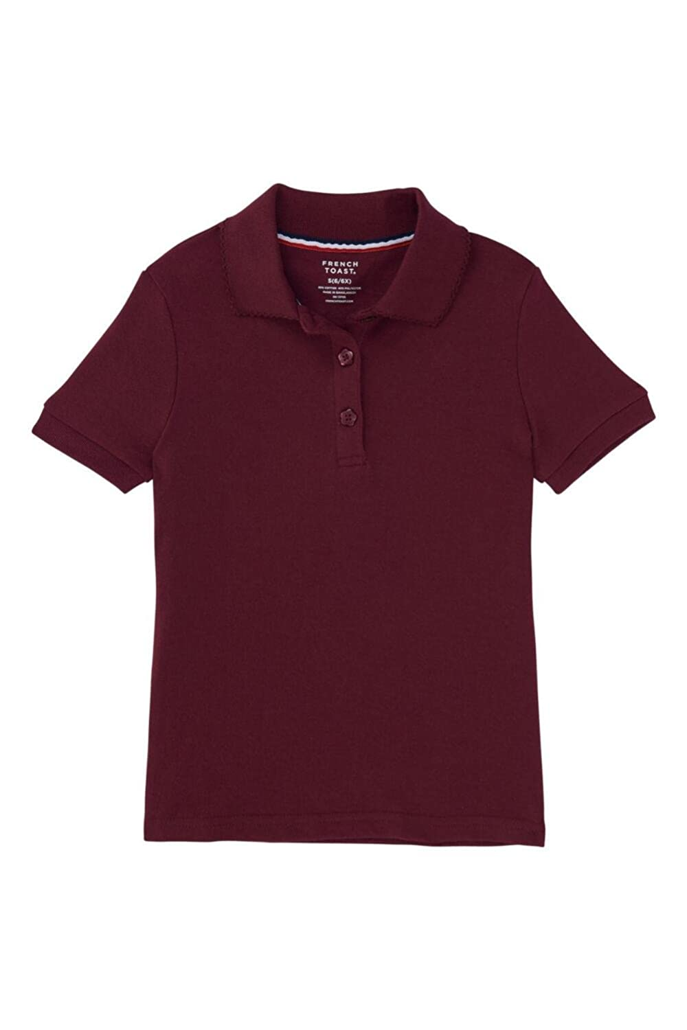 Standard /& Plus French Toast Girls Short Sleeve Interlock Polo with Picot Collar