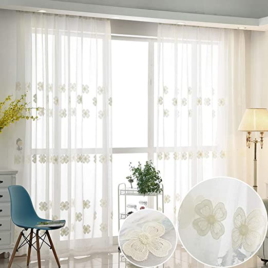 ZYY-Home curtain Flores Visillos Cortinas 2 Paneles Lápiz Pliegue ...