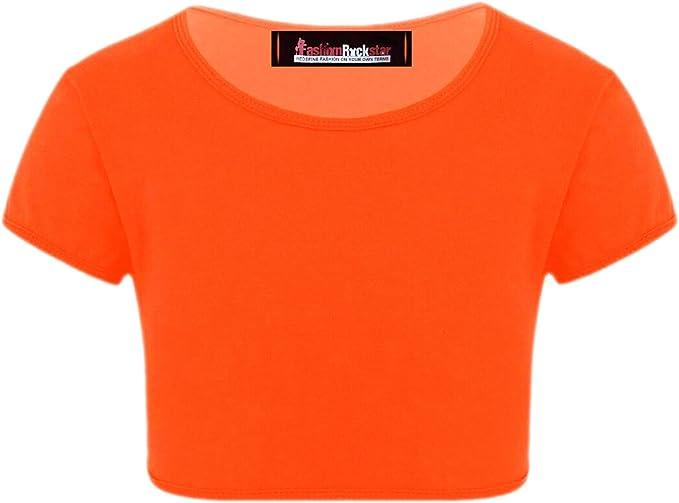 NEW Raw hem crop top t shirt top Logo Neon Baby Girl Gift PLUS Ladies motif 6-22