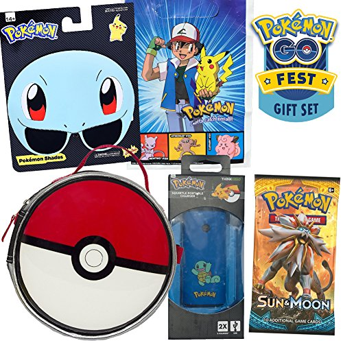 Squirtle Pokemon Go Fest Gift Set by ColorBoxCrate, Includes Squirtle Sunglasses, Pokeball Lunch Bag, Pokemon Sun Moon Cards Pack, Portable Squirtle Backup, Plus Vintage Ash Pikachu Pokemon Gift Bag