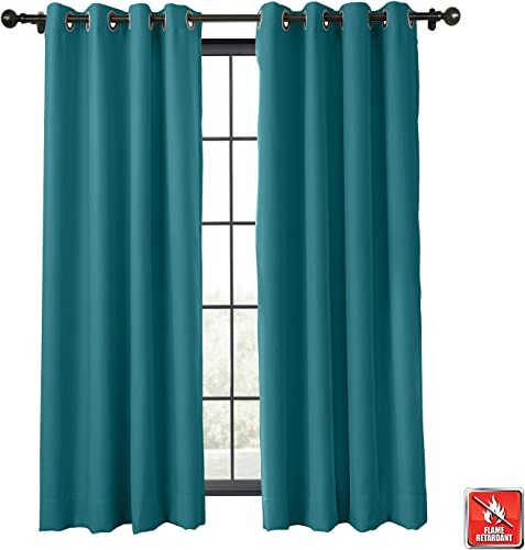 ChadMade Flame Retardant Curtain Thermal Insulated Blackout Extra Wide Antique Bronze Grommet Eyelet Saxong Blue 150W x 102L Inch 1 Panel Exclusive