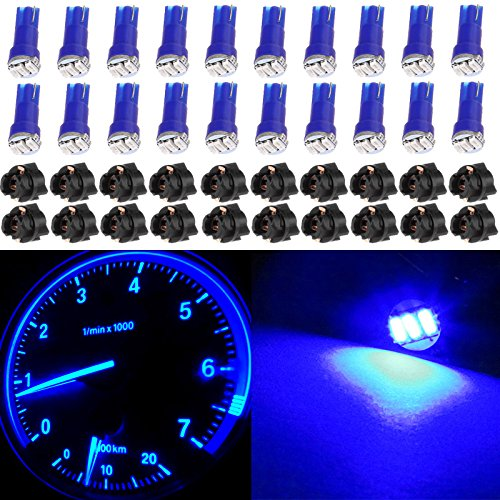 cciyu 20 Pack Blue T5 Wedge 3-3014 SMD LED 74 37 286 18 Dashboard Gauge Light Bulbs 12V w/Twist Socket -