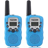 WALTSOM Kids Walkie Talkies, 2 Pack Portable T388 3KM Long Rang UHF Radio 22 FRS GMRS Walky Talky Camping/Summer Camp/Spring Outing Indoor Outdoor Activities, Best Gift Child