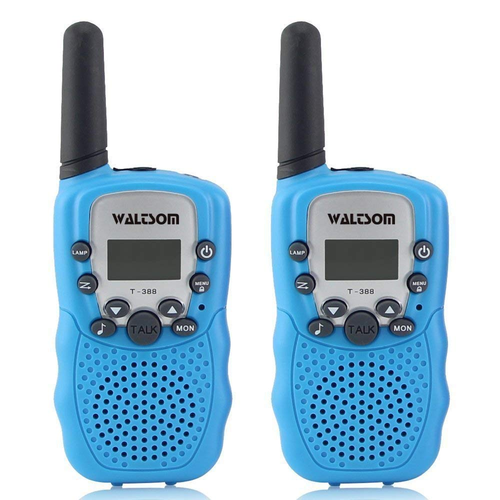 WALTSOM Kids Walkie Talkies, 2 Pack Portable T388 3KM Long Rang UHF Radio 22 FRS and GMRS Walky Talky for Camping/Summer Camp/Spring Outing Indoor Outdoor Activities, Best Gift for Child (Blue)