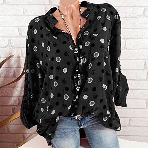 Boutons Imprime Point Blouse Casual Femme Collier Tunique d'onde Chemisier V laamei sans Mousseline Loose Manches Noir Chic Col Longues wxRY1SwOXq