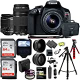Canon EOS Rebel T6 DSLR Camera Kit, EFS 18-55mm, EF 75-300mm Zoom Lens, 128GB Sandisk Memory Cards, Polaroid .43x Super Wide Angle, 2.2X HD Telephoto Lens, Canon Bag, Tripods & Accessory Bundle