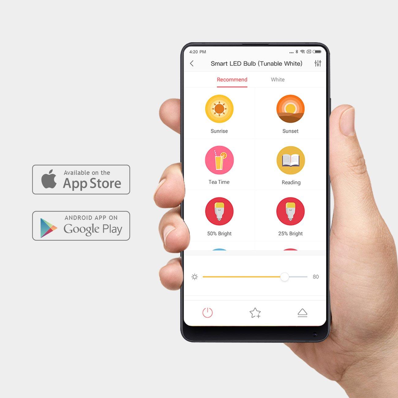 YEELIGHT Lemon Smart LED WiFi Bombilla 10W E27 800lm Sin bombillas de iluminación Hub trabaja con Alexa, Asistente de Google (TUNABLE WHITE): Amazon.es: ...