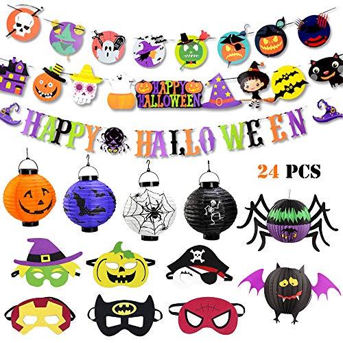 Joyfun Halloween Party Decorations for Kids Halloween Party Favors Novelty Toys Halloween Party Supplies Ornament Cartoon Banner Superhero Masks Paper Lantern - 24 PCS