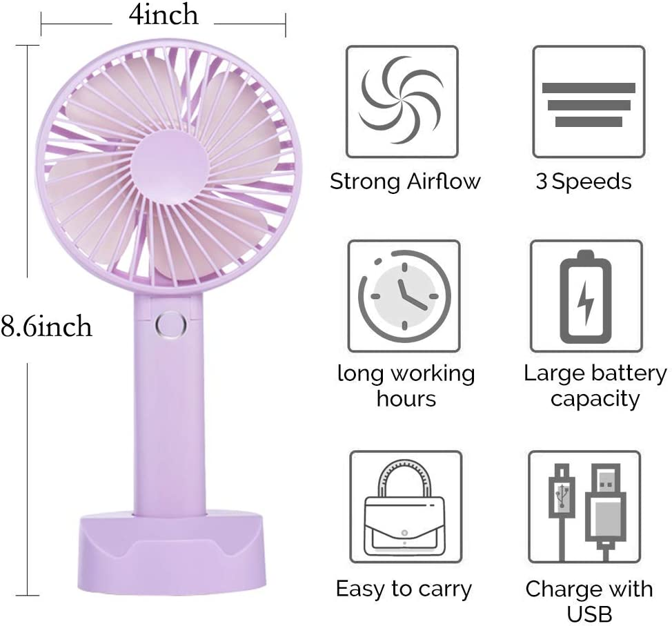 Battery Handheld Fan, Portable Battery Operated Fan Rechargeable Adjustable 3 Speeds Mini Personal Electric USB Fan with Desk Stand for Home Office Travel Outdoor Purple