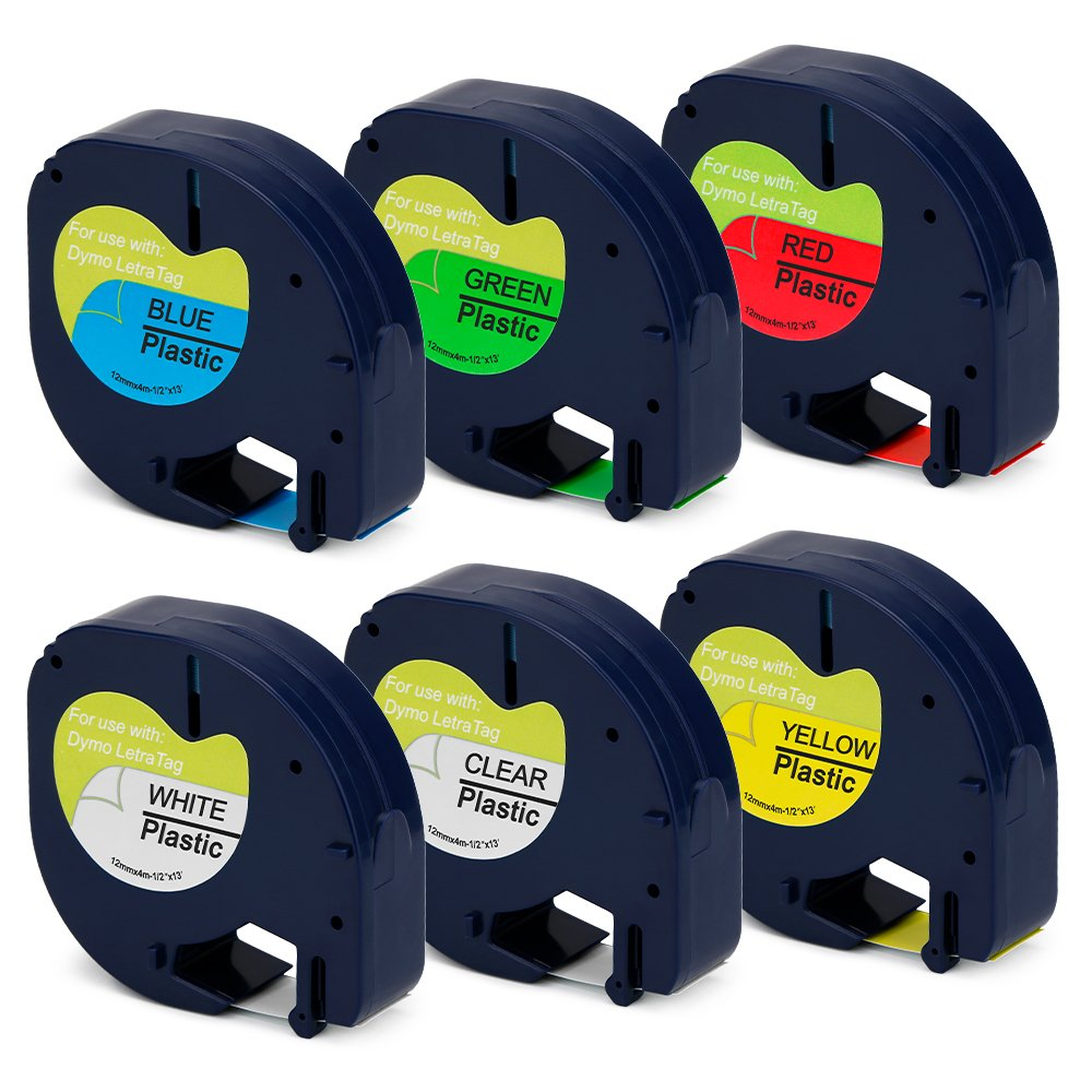 Jofoce Compatible DYMO LetraTag 16952 91331 91332 91333 91334 91335 Label Tape 12mm (1/2 inch) Width X 4m (13 Ft) Length, Work with DYMO LetraTag Plus LT-100H LT-100T QX50