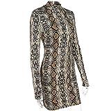 SawyeDeer Women Long Sleeve High Neck Snake Skin Print Package Hip Bodycon Mini Dress (M)