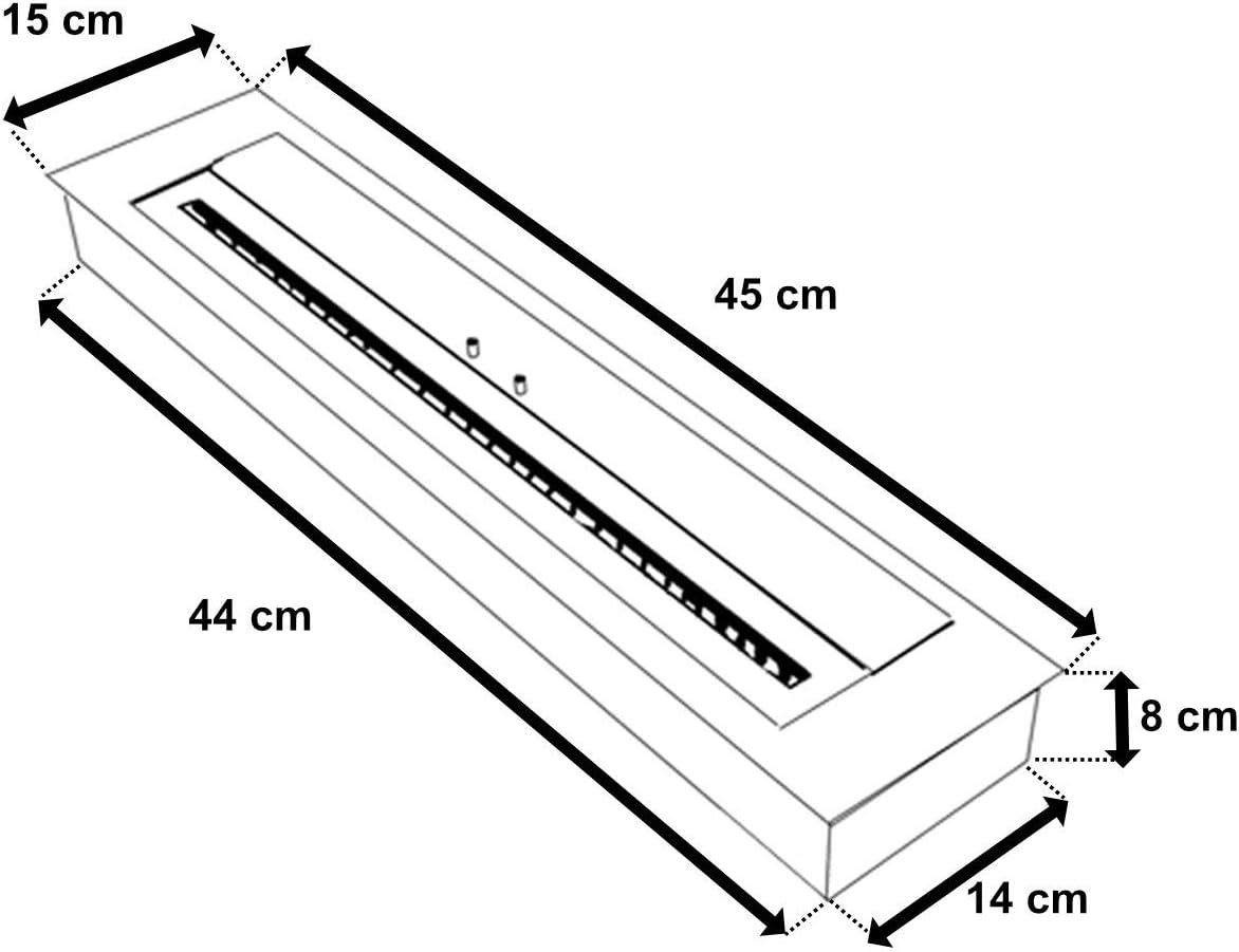 incluye /& Cer/ámica Esponja para bioetanol chimenea//gel chimenea divisible regulier Bare Bredemeijer Combusti/ón de Acero Inoxidable Tama/ño a Elegir 45/cm//60/cm//80/cm//90/cm//100/cm//120/cm