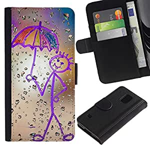 Billetera de Cuero Caso Titular de la tarjeta Carcasa Funda para Samsung Galaxy S5 V SM-G900 / Drawing Mother Crayon Art Stick Figure / STRONG