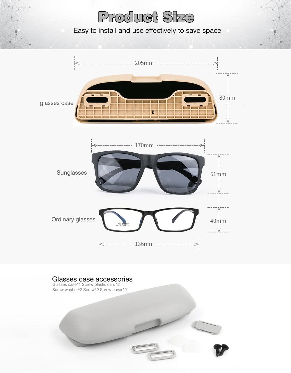 AnyCar Glasses Storage Box for Car BMW Sunglasses Holder Case Storage Box Eye Glasses Box Case Gray