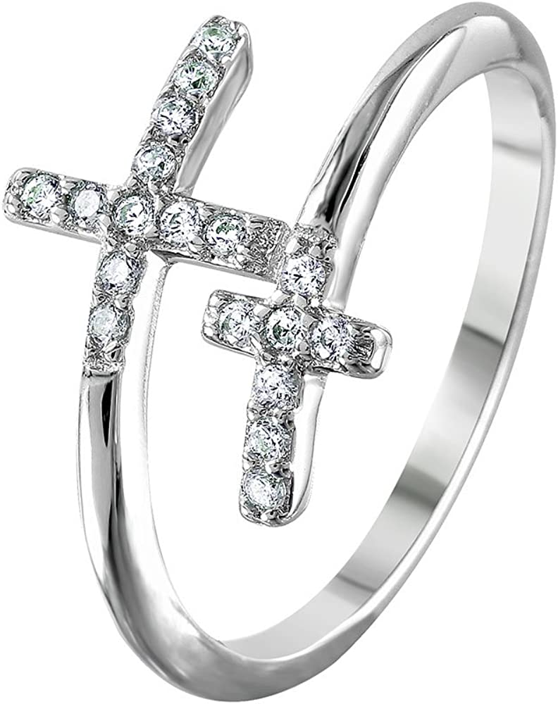 Clear Cubic Zirconia Double Cross Wrap Ring Rhodium Plated Sterling Silver
