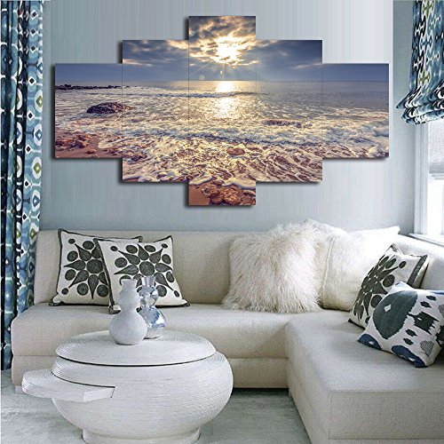 Yatsen Bridge Modern Landscape Painting on Canvas 5 Piece, Beach Ocean Pictures Wall Art for Living Room Home Decor Wooden Framed Stretched Hooks Ready to Hang(60''W x 40''H)