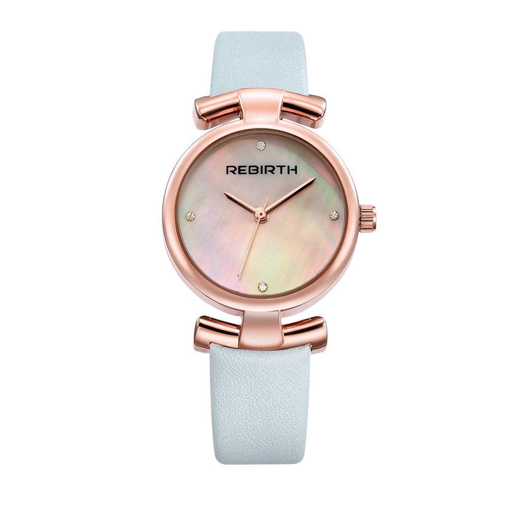 Rebirthレディース簡潔なドレススタイルシンプルなダイヤルNumberlessクオーツ腕時計、レザーストラップ 5# B071VG7LLY 5# 5#