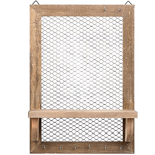 8 Hook Wood and Metal Chicken Wire Wall Mounted Jewelry Display Organizer Rack with Shelf by MyGift (Image #1)