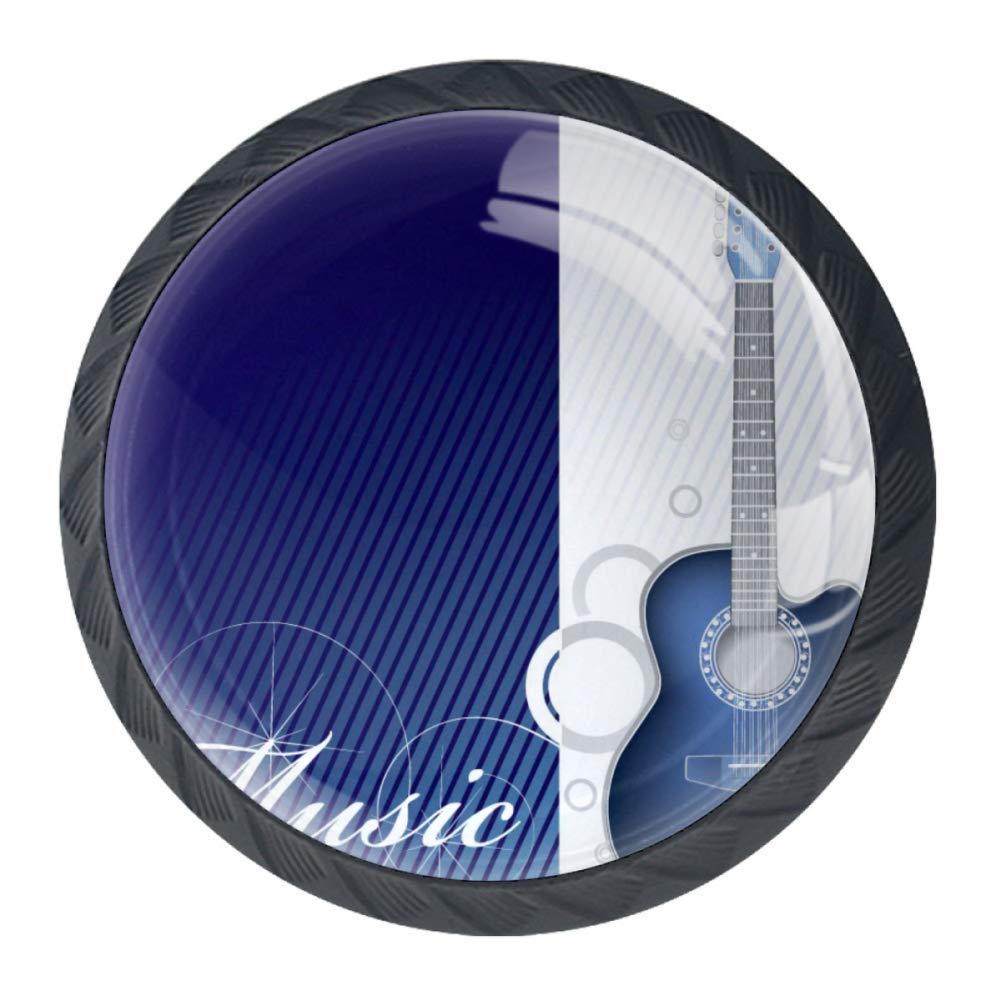 ba/ño 35 mm para cocina /único 4 pomos de cristal para armario dise/ño abstracto retro con forma de oornamento y guitarra pl/ástico Black02
