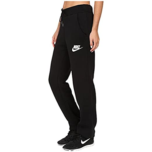 on feet shots of various kinds of fashion style of 2019 Nike Womens Rally Loose Pants Black/White 828603-010 Size Small