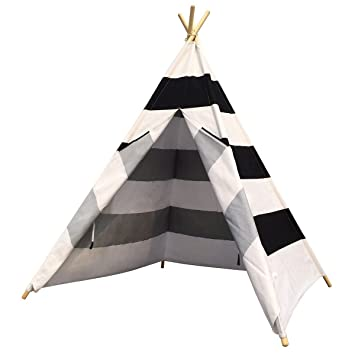 Dream House Horizontal Black and White Stripes Indoor Children Hideaway Game Wigwam Tent  sc 1 st  Amazon.com & Amazon.com: Dream House Horizontal Black and White Stripes Indoor ...
