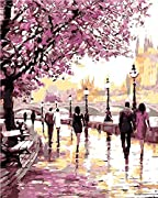 Paint by Number Kit,Diy Oil Painting Romantic Couple Kiss Drawing Canvas with Brushes Christmas Decor Decorations Gifts - 16*20 inch Frameless