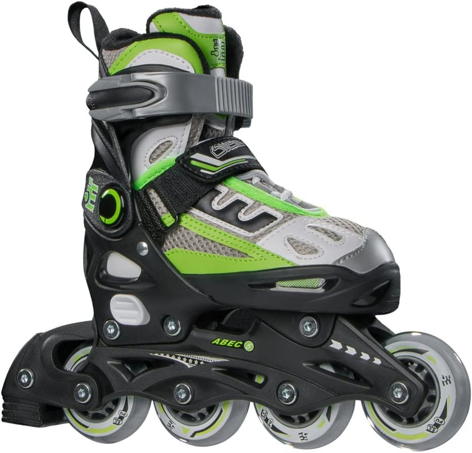 5th Element B2-100 Adjustable Kids Recreational Inline Skates, Black and Green Rollerblades – 2-4 Black-Green