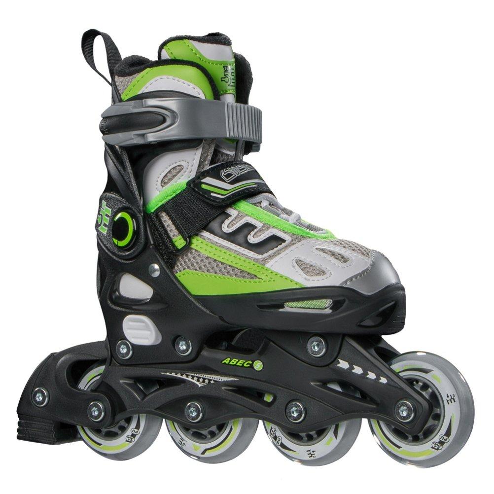 5th Element B2-100 Adjustable Kids Recreational Inline Skates, Black and Green Rollerblades – 2-4 Black-Green