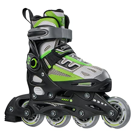 5th Element B2-100 Adjustable Kids Recreational Inline Skates, Black and Green Rollerblades