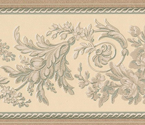 Abstract Ivory White Vines White Cream Floral Wallpaper Border Retro Design, Roll 15' x 6''