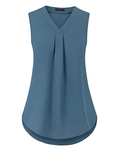 80ef27efb43 Amazon.com  Anmery Women s Casual V Neck Sleeveless Front Pleated ...