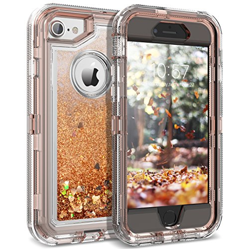 iPhone 8 Case, iPhone 7 Case, Dexnor Glitter 3D Bling Sparkle Flowing Liquid Case Transparent 3 in 1 Shockproof TPU Silicone + PC Protective Defender Cover for iPhone 8/7/6s/6 - Light Brown