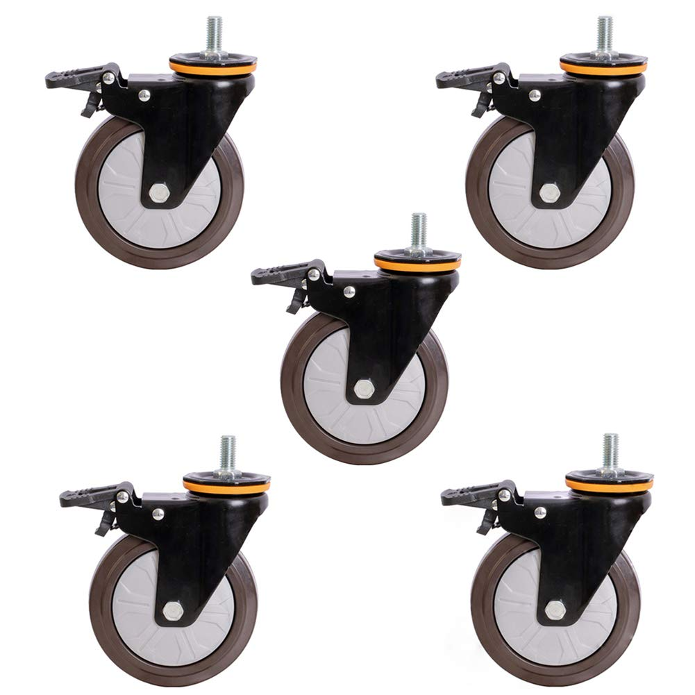 Casters, 3'' / 4'' / 5'' Universal Swivel Castors with Brakes, Heavy Duty Replacement Rubber Computer Chair Casters, Suitable for Furniture Office by Universal casters