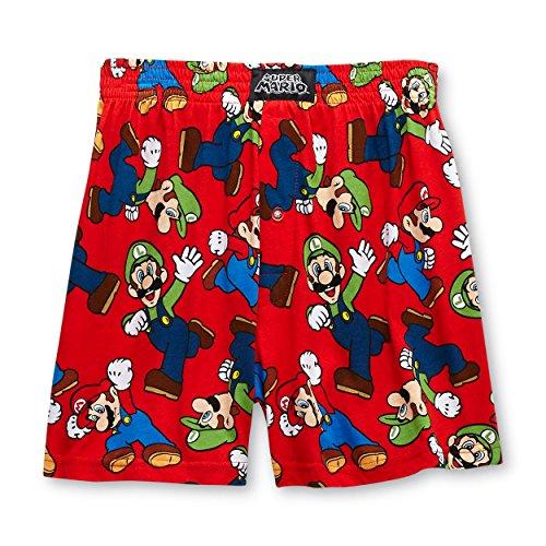 Super Mario and Luigi Mens Boxer Shorts (Small (28-30), Mario Red)