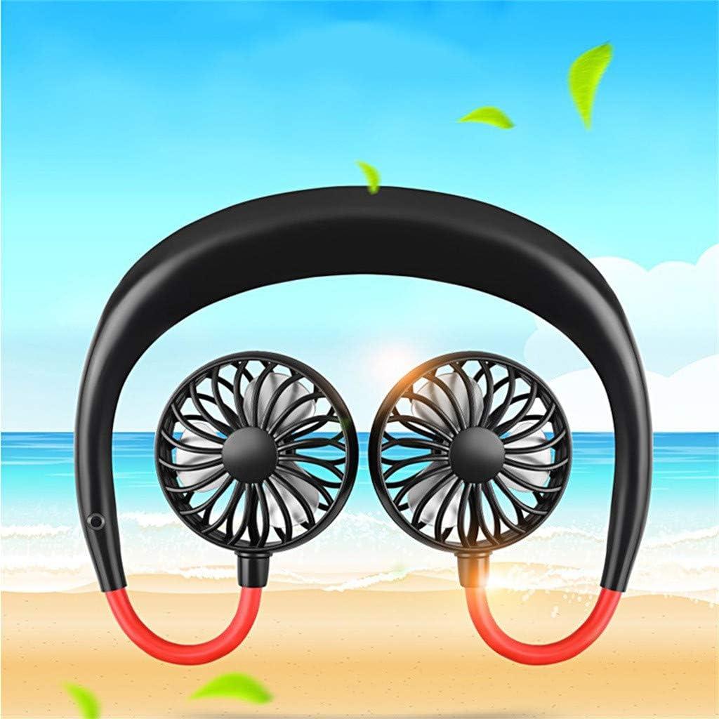 Portable USB Battery Rechargeable Mini Fan Ouniman Hands-Free Neckband Fan Hand Free Personal Fan Headphone Design Fan Cooler Fan with Dual Wind Head for Traveling Outdoor Office Room