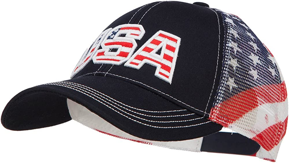 e4Hats.com USA with Flag Cotton Twill Mesh Cap
