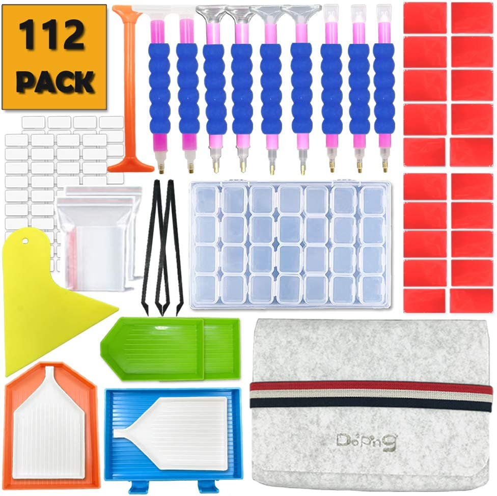 77pieces Do/²ping 5D Diamonds Painting Tools Accessories Kits with Diamond Painting Roller and 28 Slots Diamond Embroidery Box for DIY Art Craft