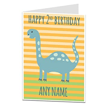 Personalised 2nd Birthday Card Dinosaur Theme For Boys Girls Son Nephew Grandson