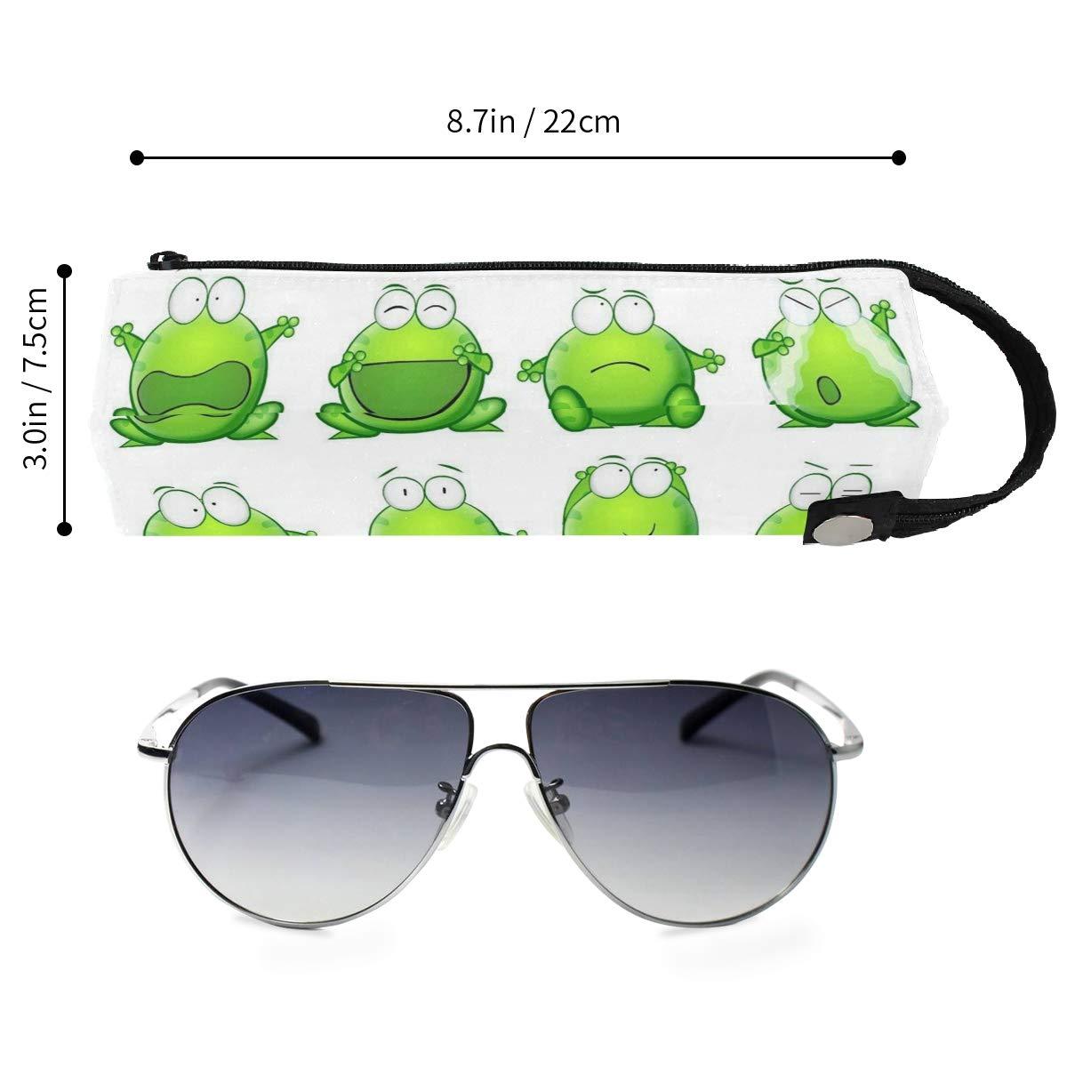 Glasses Case Cartoon Frog Expression Travel Soft Sunglasses Pencil Bag Protective Holder