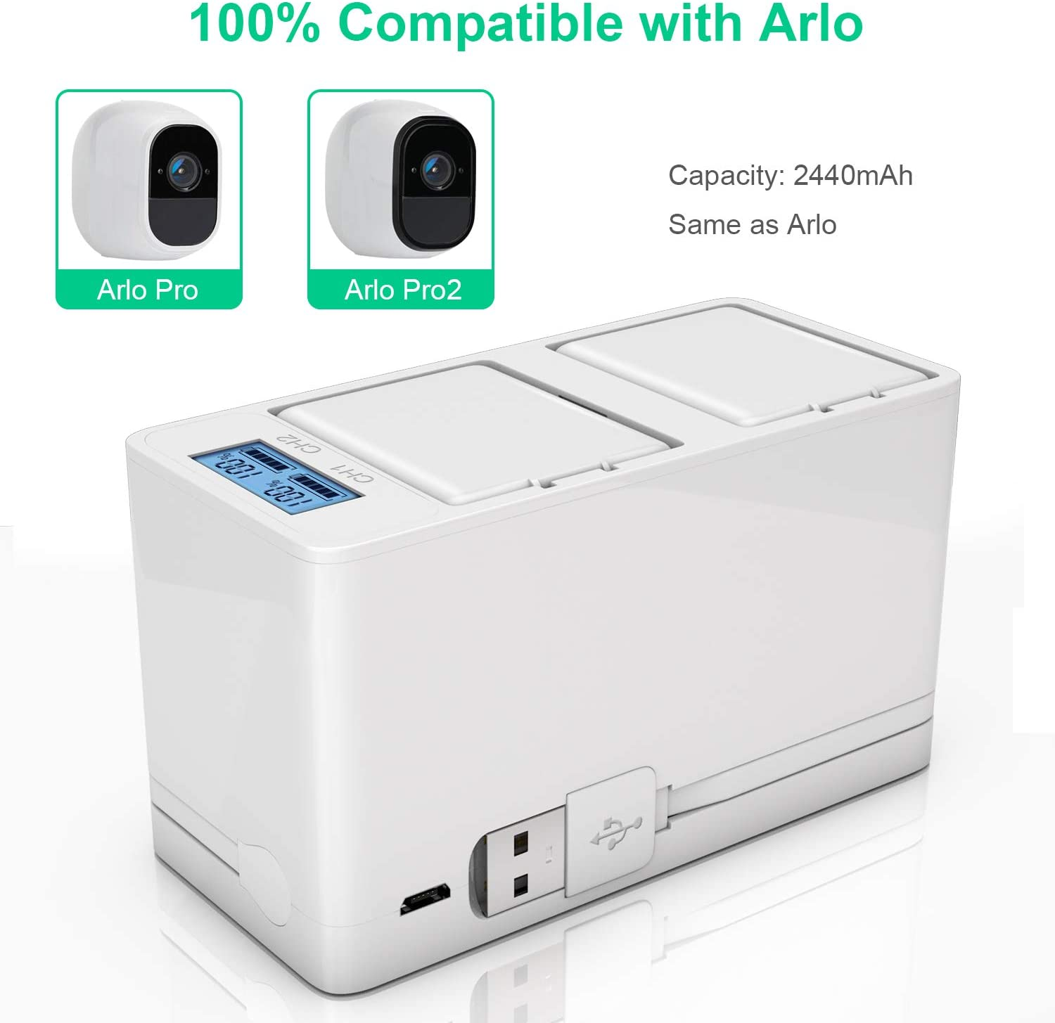 Arlo Pro 2, and Charger Rechargeable Batteries Dual Quick Battery Charger Station for Arlo Pro Camera VMA4400 TOMSHEIR Arlo Battery 1-Pack